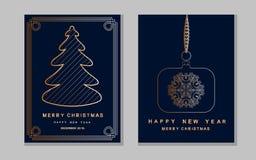 De kaart van de nieuwjaargroet met abstracte Kerstmisboom, stuk speelgoed en sneeuw Royalty-vrije Stock Foto