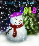 De Kaart van de nieuwjaargroet - Sneeuwman in het Bos Stock Fotografie