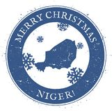 De kaart van Niger Uitstekende Vrolijke Kerstmis Niger Stamp Vector Illustratie