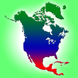 De kaart van Noord-Amerika Royalty-vrije Stock Foto's