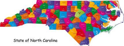 De kaart van Noord-Carolina
