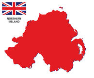 De kaart van Noord-Ierland met vlag royalty-vrije illustratie
