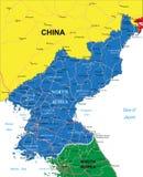 De kaart van Noord-Korea Stock Afbeeldingen