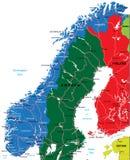 De kaart van Noorwegen Stock Foto's