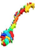 De kaart van Noorwegen Stock Fotografie