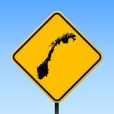 De kaart van Noorwegen op verkeersteken Stock Afbeelding
