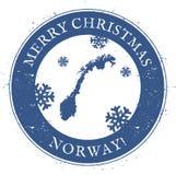 De kaart van Noorwegen De uitstekende Vrolijke Zegel van Kerstmisnoorwegen stock illustratie
