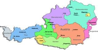 De kaart van Oostenrijk Royalty-vrije Stock Fotografie
