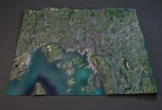 De kaart van Oslo, Noorwegen, satellietmening Stock Afbeelding