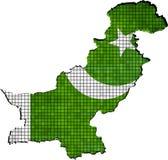 De kaart van Pakistan met binnen vlag Royalty-vrije Stock Foto's