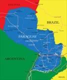 De kaart van Paraguay Royalty-vrije Stock Afbeeldingen