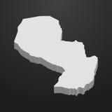 De kaart van Paraguay in grijs op een zwarte 3d achtergrond Royalty-vrije Stock Afbeelding