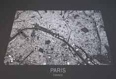 De kaart van Parijs, de satellietmening van Frankrijk Stock Afbeeldingen