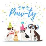 De kaart van de de partijgroet van de hondverjaardag Stock Afbeelding