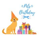 De kaart van de de partijgroet van de hondverjaardag Stock Foto