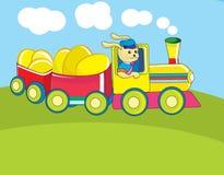 De kaart van Pasen met een konijn dat een trein drijft Stock Afbeeldingen