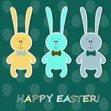 De kaart van Pasen met kleurrijke konijnen Royalty-vrije Stock Foto's