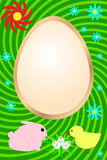 De kaart van Pasen met konijn, kip en bloemen Royalty-vrije Stock Afbeeldingen