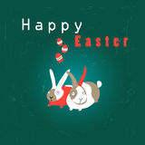 De kaart van Pasen met konijnen Royalty-vrije Stock Foto's