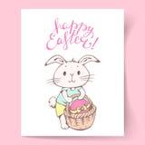 De kaart van Pasen met konijntje Stock Afbeelding