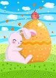 De Kaart van Pasen van het konijntje Stock Afbeeldingen