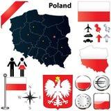 De kaart van Polen Royalty-vrije Stock Afbeeldingen