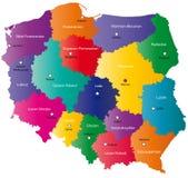 De kaart van Polen van de kleur vector illustratie