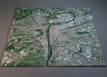 De kaart van Praag, satellietmening, Tsjechische Republiek Stock Afbeeldingen