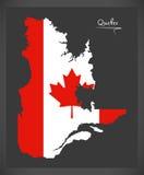 De kaart van Quebec Canada met Canadese nationale vlagillustratie Stock Foto
