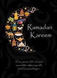 De kaart van de Ramadan kareem groet met de Arabische kameel van ontwerpelementen, quran, lantaarns, rozentuin, voedsel, moskee V royalty-vrije illustratie