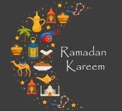 De kaart van de Ramadan kareem groet met de Arabische kameel van ontwerpelementen, quran, lantaarns, rozentuin, voedsel, moskee V vector illustratie