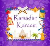 De kaart van de Ramadan kareem groet met de Arabische kameel van ontwerpelementen, quran, lantaarns, rozentuin, voedsel, moskee V stock illustratie
