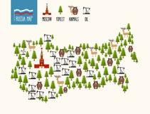 De kaart van Rusland Infographic van de Russische Federatie Mineralenolie Stock Foto