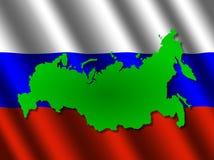 De kaart van Rusland op vlag Royalty-vrije Stock Afbeelding