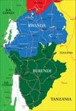De kaart van Rwanda Stock Afbeeldingen