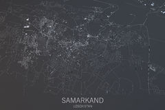 De kaart van Samarkand, satellietmening, stad, Oezbekistan Stock Fotografie