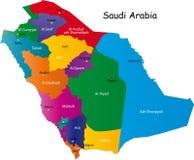 De kaart van Saudi-Arabië Royalty-vrije Stock Afbeeldingen