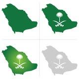De Kaart van Saudi-Arabië en Nationaal Embleem vector illustratie