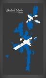 De kaart van Shetland-eilanden met Schotse nationale vlagillustratie vector illustratie