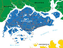 De kaart van Singapore Royalty-vrije Stock Fotografie