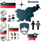 De kaart van Slovenië Stock Afbeeldingen