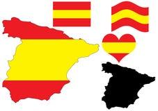 De kaart van Spanje met vlag en hart Stock Foto's