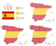 De Kaart van Spanje in 3 Stijlen Stock Fotografie