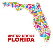 De Kaart van de Staat van Florida - Mozaïek van Kleurendriehoeken vector illustratie