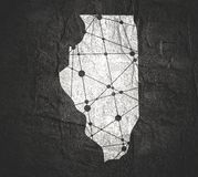 De kaart van de Staat van Illinois door provincies stock foto