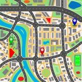 De kaart van de stad Vektorillustratie stock foto's