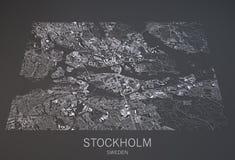 De kaart van Stockholm, Zweden, satellietmening Stock Afbeeldingen