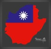 De kaart van Tainan Shi Taiwan met Taiwanese nationale vlagillustratie Stock Foto