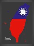De kaart van Taiwan met Taiwanese nationale vlagillustratie Stock Foto