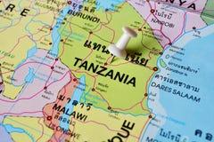 De kaart van Tanzania stock foto